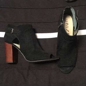 Barely worn black pep toe booties